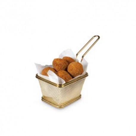 Basket chips cuadrada 10 cms Oro