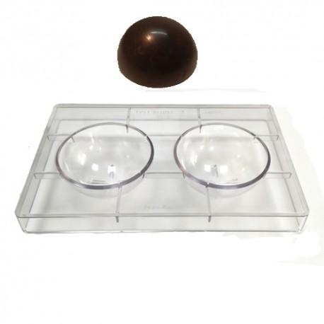 Molde bombones policarbonato Semiesfera 2 cavidades