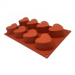 Molde silicona corazon 8 cavidades