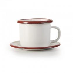 taza con platillo Bordeaux esmaltada