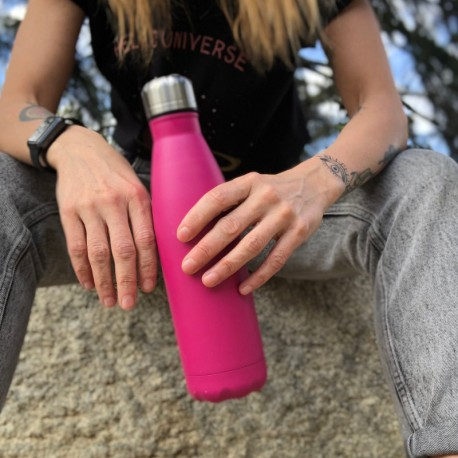 Botella termo color rosa