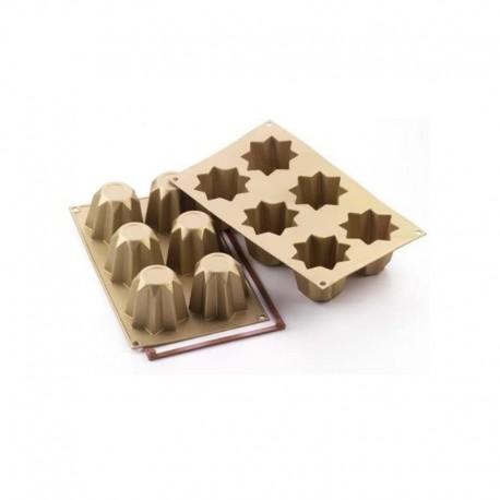 Molde silicona forma mini pandoro 6 cavidades